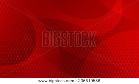 Abstract Background Of Curved Lines, Curves And Halftone Dots In Red Colors