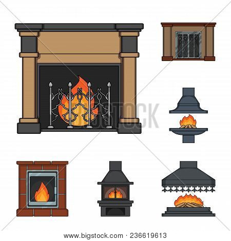 Different Kinds Of Fireplaces Cartoon Icons In Set Collection For Design.fireplaces Construction Vec