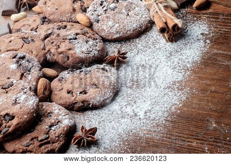 Chocolate Chips Cookies On Table With Dark Rustic Texture And With Copy Space For Your Text. Close-u