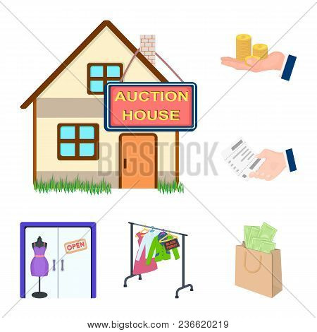 E-commerce And Business Cartoon Icons In Set Collection For Design. Buying And Selling Vector Symbol