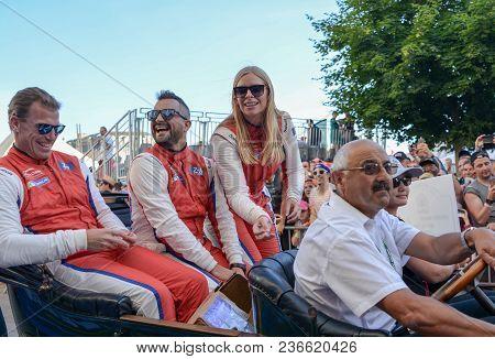 Le Mans, France - June 16, 2017: Christina Nielsen Danish Racer And Her Team Alessandro Balzan And B