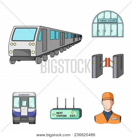Metro, Subway Cartoon Icons In Set Collection For Design.urban Transport Vector Symbol Stock  Illust