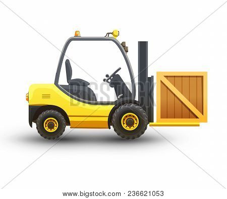 Vector Isolated Illustration Of Forklift On White Background.