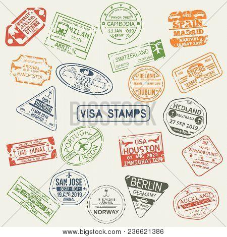 Set Of Isolated Visa Passport Stamps Of Arriving To Ottawa, Uae, Switzerland, Japan, Uk, Australia,