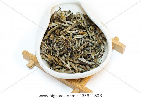 Traditional Chinese Tea. White Tea. Tea On A White Background. Bai Hao Yin Zhen