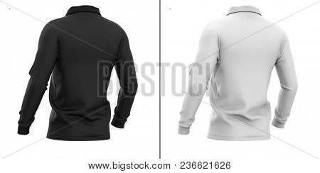 Men's polo shirt with long sleeves. Half-back view. 3d rendering. Clipping paths included: whole object, sleeve, collar. Highlights and shadows template mock-up. Isolated on white background.