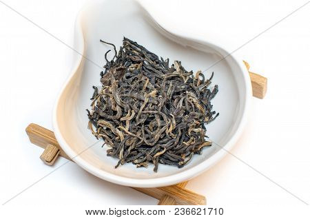 Traditional Chinese Tea. Red Black Tea. Tea On A White Background. Dianhong Mao Feng