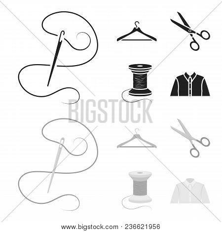 Thread, Reel, Hanger, Needle, Scissors.atelier Set Collection Icons In Black, Monochrom Style Vector