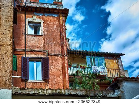 Rome, Italy - May 17, 2017: Generic Residential Architecture In Trastevere, Rome, Italy.