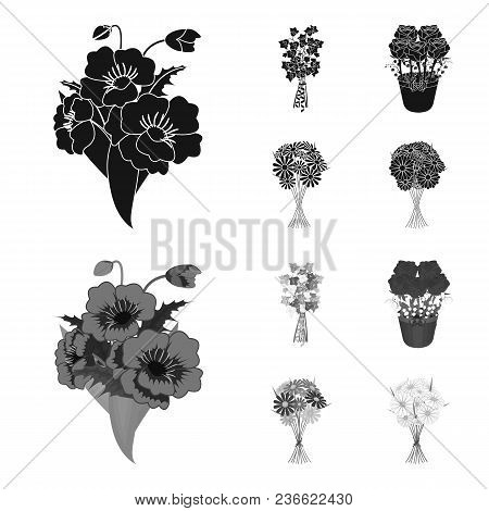 A Bouquet Of Fresh Flowers Black, Monochrom Icons In Set Collection For Design. Various Bouquets Vec
