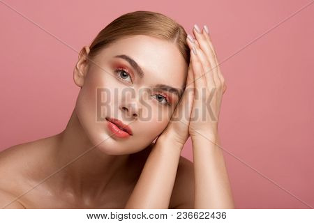 Skincare Concept. Portrait Of Young Lady Having Ideal Pelt And Natural Makeup. She Is Staring With P