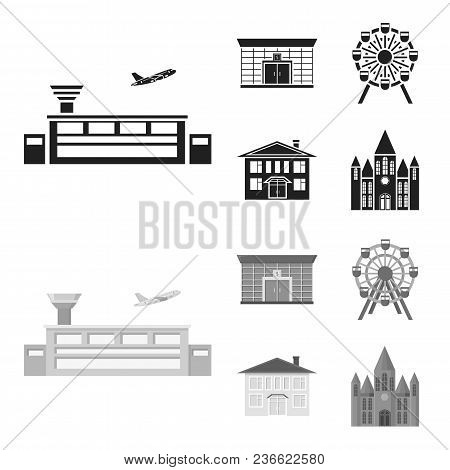 Airport, Bank, Residential Building, Ferris Wheel.building Set Collection Icons In Black, Monochrom