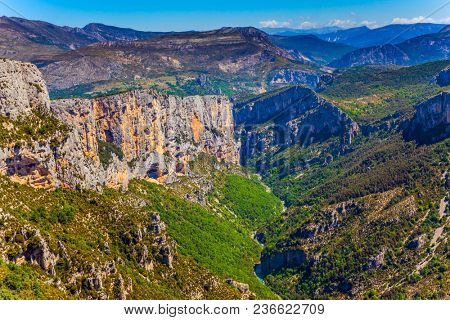 The journey to the most beautiful canyon in Europe - Verdon. Steep picturesque cliff in the French Alps. Concept of ecological and active tourism