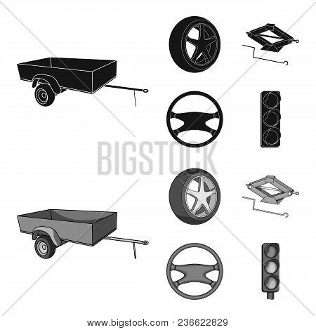 Caravan, Wheel With Tire Cover, Mechanical Jack, Steering Wheel, Car Set Collection Icons In Black,