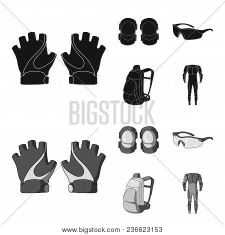 Gloves, Elbow Pads, Goggles, Cyclist Backpack.cyclist Outfit Set Collection Icons In Black, Monochro