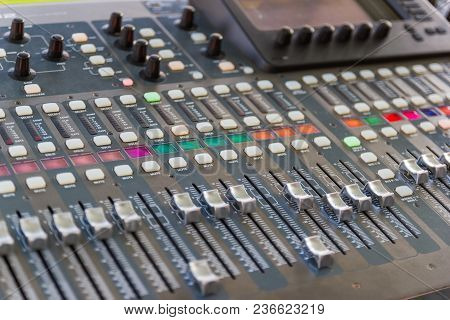 Mixing Console  Of A Big Hifi System  The Audio Equipment, Control Panel Of Digital Studio Mixer. Cl
