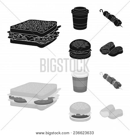 Sandwich, Coffee, Shish Kebab, Burger.fast Food Set Collection Icons In Black, Monochrom Style Vecto