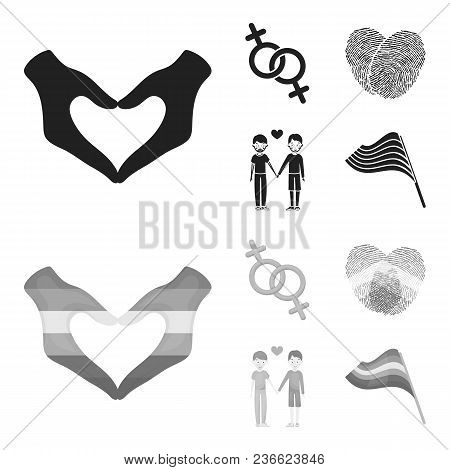 Hands, Feminism, Fingerprints. Gay Set Collection Icons In Black, Monochrom Style Vector Symbol Stoc