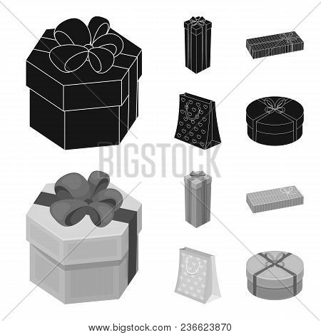 Gift Box With Bow, Gift Bag.gifts And Certificates Set Collection Icons In Black, Monochrom Style Ve