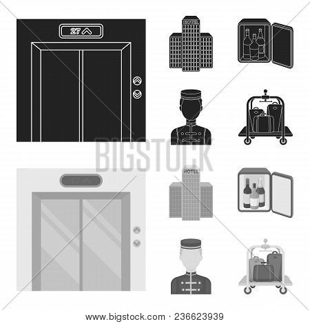 Elevator Car, Mini Bar, Staff, Building.hotel Set Collection Icons In Black, Monochrom Style Vector