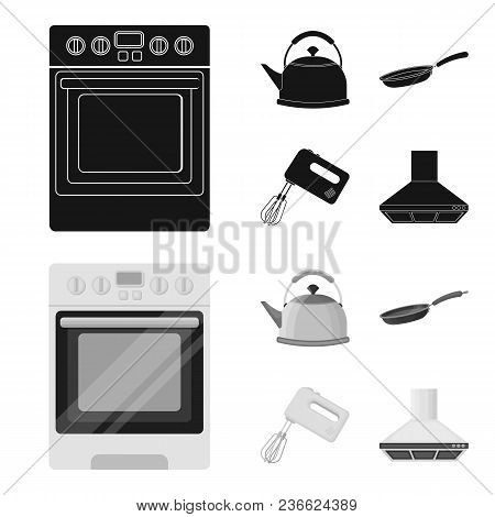 Kitchen Equipment Black, Monochrom Icons In Set Collection For Design. Kitchen And Accessories Vecto