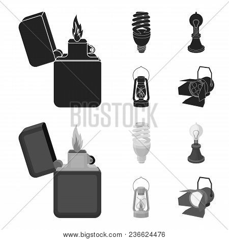 Lighter, Economical Light Bulb, Edison Lamp, Kerosene Lamp.light Source Set Collection Icons In Blac
