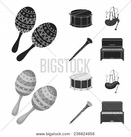 Maracas, Drum, Scottish Bagpipes, Clarinet. Musical Instruments Set Collection Icons In Black, Monoc