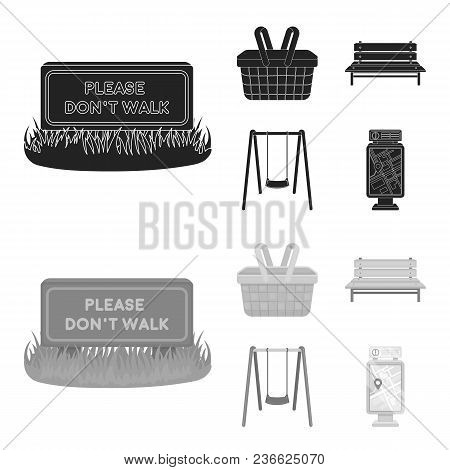 Lawn With A Sign, A Basket With Food, A Bench, A Swing. Park Set Collection Icons In Black, Monochro