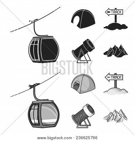 Funicular, Tent, Road Sign, Snow Cannon. Ski Resort Set Collection Icons In Black, Monochrom Style V