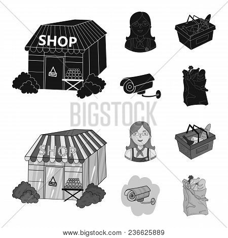 Salesman, Woman, Basket, Plastic .supermarket Set Collection Icons In Black, Monochrom Style Vector
