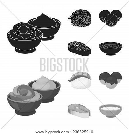 Wasabi Sauce And Ginger, Salmon Steak, Octopus. Sushi Set Collection Icons In Black, Monochrom Style