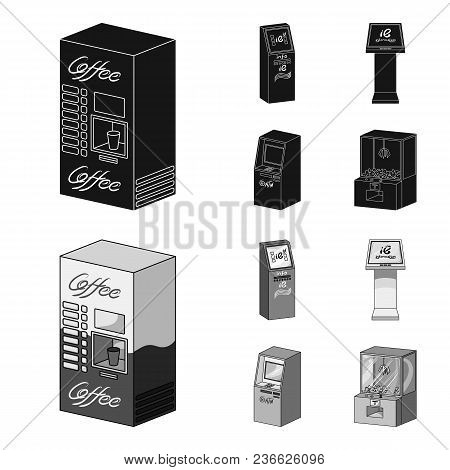 Coffee Machine, Atm, Information Terminal. Terminals Set Collection Icons In Black, Monochrom Style