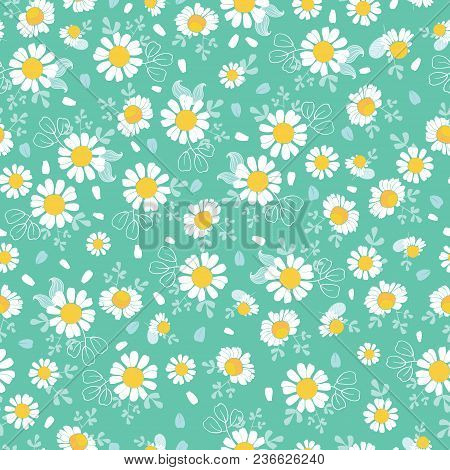 Vintage Daisies Ditsy Seamless Pattern Great For Summer Fabric Scrapbooking Wallpaper