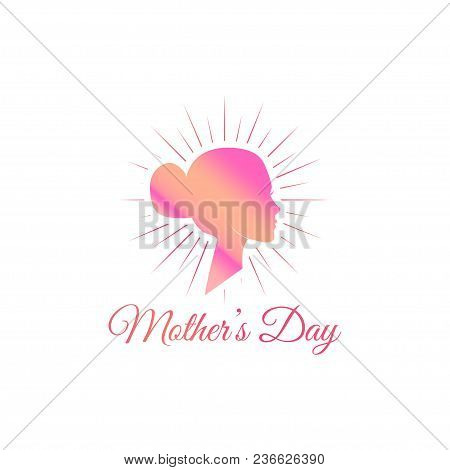 Womans Silhouette. Mother Day Card. Mom Greeting. Face In Beams. Pink Color. Vector