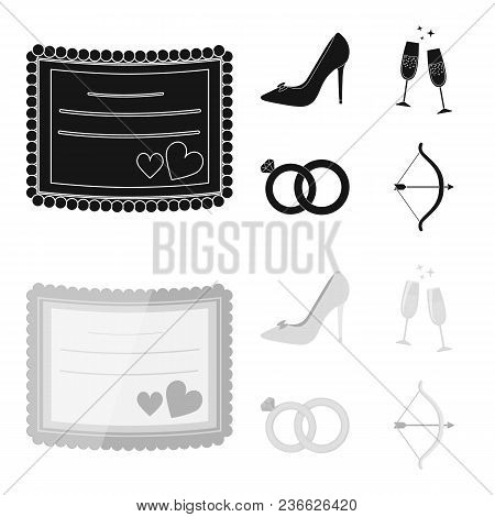 Invitation, Bride Shoes, Champagne Glasses, Wedding Rings. Wedding Set Collection Icons In Black, Mo