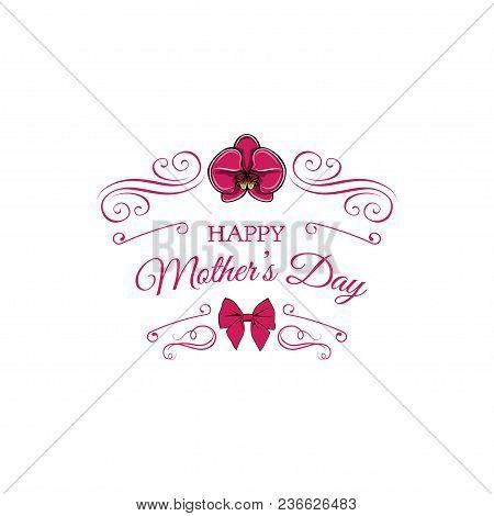 Mothers Day Greeting Card. Flower, Bow, Swirls, Ornate Filigree Elements, Flourish Frame. Mom Gift V