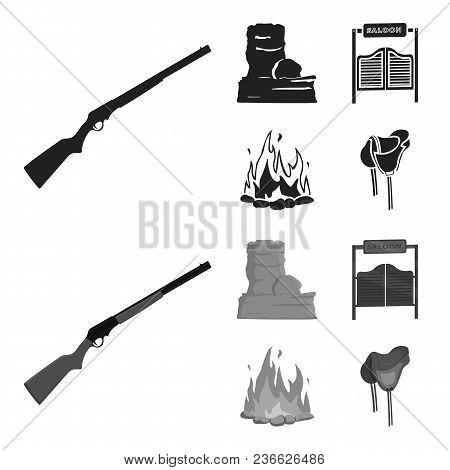 Winchester, Saloon, Rock, Fire.wild West Set Collection Icons In Black, Monochrom Style Vector Symbo