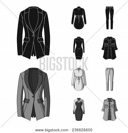 Women Clothing Black, Monochrom Icons In Set Collection For Design.clothing Varieties And Accessorie