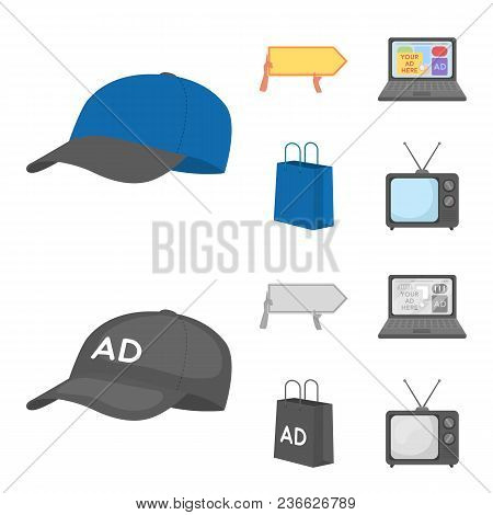 Baseball Cap, Pointer In Hands, Laptop, Shopping Bag.advertising, Set Collection Icons In Cartoon, M