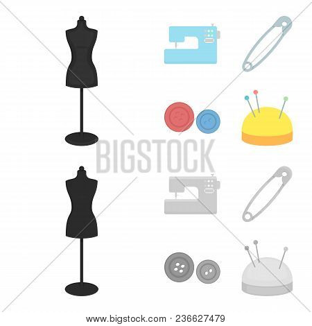 Electric Sewing Machine, Dummy On The Stand, Pin, Buttons.atelier Set Collection Icons In Cartoon, M