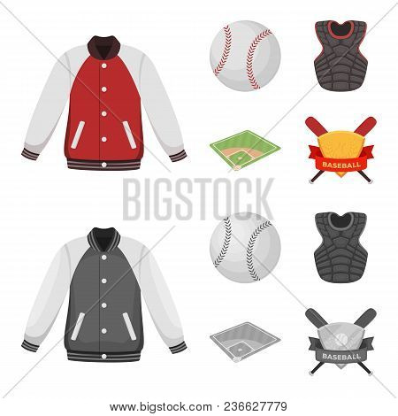 Playground, Jacket, Ball, Protective Vest. Baseball Set Collection Icons In Cartoon, Monochrome Styl