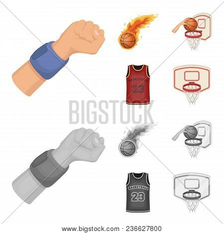 Basketball And Attributes Cartoon, Monochrome Icons In Set Collection For Design.basketball Player A