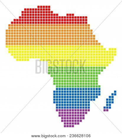 Vector Homosexual Tolerance Africa Map In Lgbt Flag Colors On A White Background. Colored Vector Abs