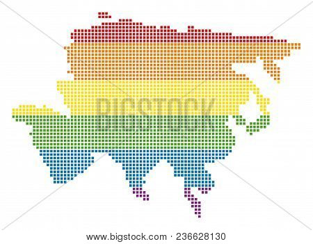 Vector Homosexual Tolerance Asia Map In Lgbt Flag Colors On A White Background. Color Vector Abstrac