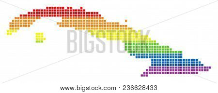 Vector Homosexual Tolerance Cuba Map In Lgbt Flag Colors On A White Background. Rainbow Vector Abstr