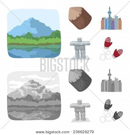 Lakes, Mountains, The Tower Of Si-en And Other Symbols Of Canada.canada Set Collection Icons In Cart