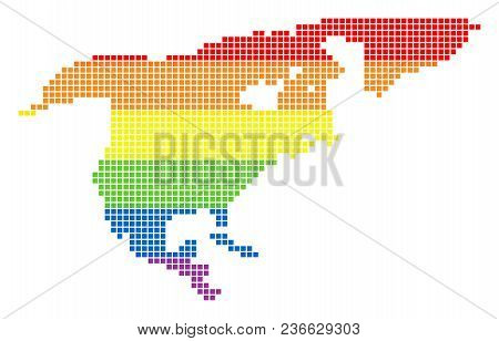 Vector Homosexual Tolerance North America Map In Lgbt Flag Colors On A White Background. Multicolore
