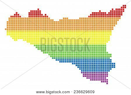 Vector Homosexual Tolerance Sicilia Map In Lgbt Flag Colors On A White Background. Colored Vector Ab