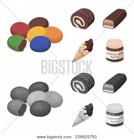 Dragee, Roll, Chocolate Bar, Ice Cream. Chocolate Desserts Set Collection Icons In Cartoon, Monochro