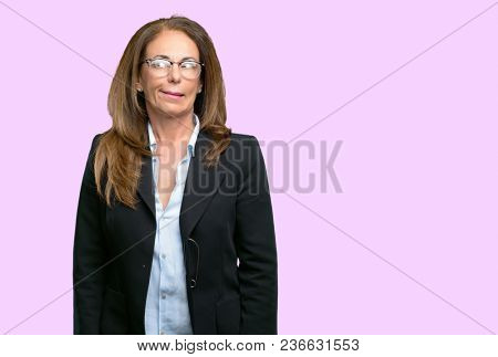 Middle age business woman doubt expression, confuse and wonder concept, uncertain future